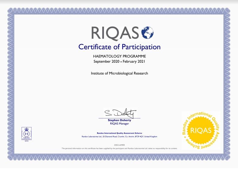 Сертифікат про успішне проходження зовнішньої оцінки якості (гематологія 2020-2021). RIQAS, Великобритания.